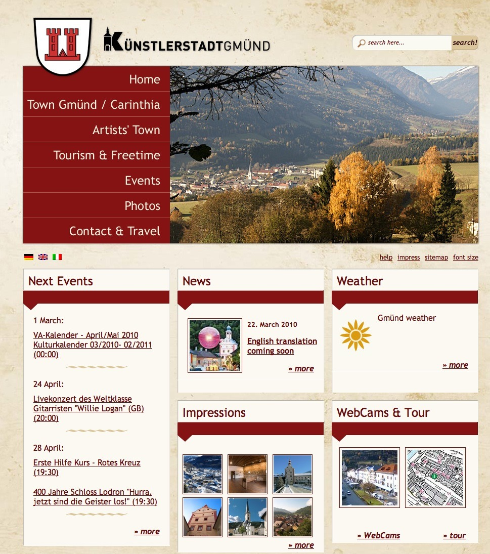 Screenshot Website Gmünd