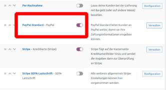 Paypal Standard WooCommerce Einstellung