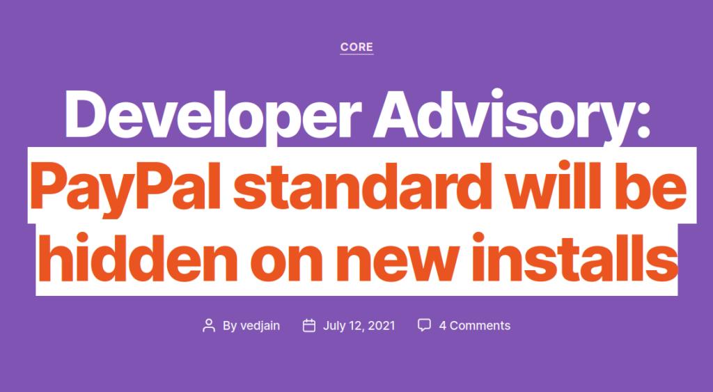 PayPal standard will be hidden on new installs Blog-Artikel
